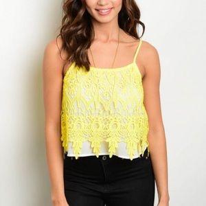 Tops - NWT Yellow Crochet Top